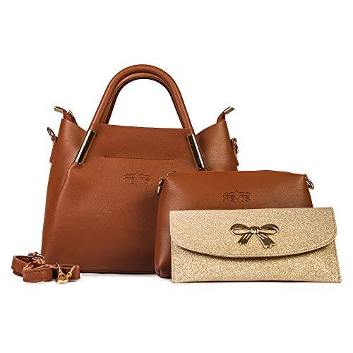 Nevis Fashion Leatherite Solid Stylish Shoulder Versatile Party Satchel Sling Bags 3 Pcs/Set (Pink)