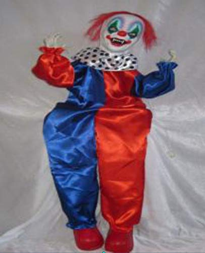 Foxxeo Horror Clown mit Musik ALS Halloween Dekoration 90cm