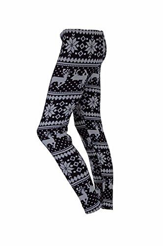 Winterleggings Thermoleggings warme Leggings mit Teddyfell mit Renntier Eiskristalle Motive bis Gr.54 SChwarz 113
