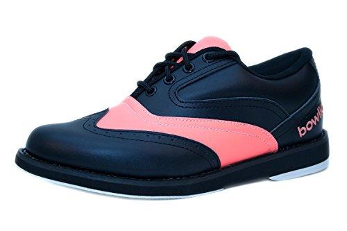 Bowlingschuhe - Bowlio Strike Orange Rose - aus Leder mit Microfasersohle, Größe:37, Farbe:Orangepink/Schwarz