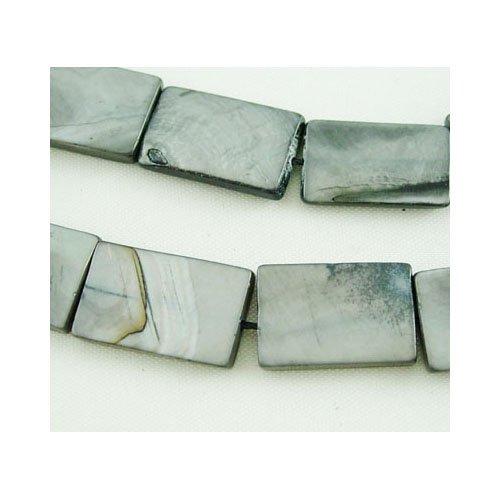 Strang 20+ Schwarz/Grau Gefärbten Schale 10 x 15mm Flach Rechteck Perlen - (Y07100) - Charming Beads (Rechteck Perlen Strang Flache)