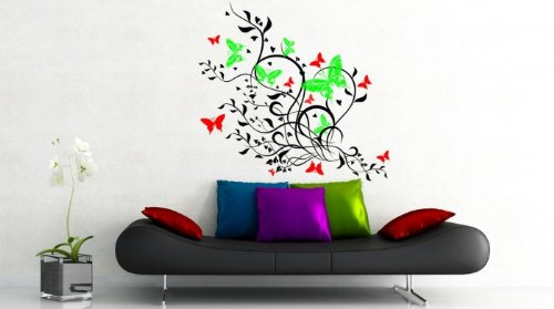 Broomsticker Bunte Schmetterlinge - Amazing Vinyl Wandtattoo, Black/Leaf Green/Strawberry Red, Large: 60cm x 100cm -