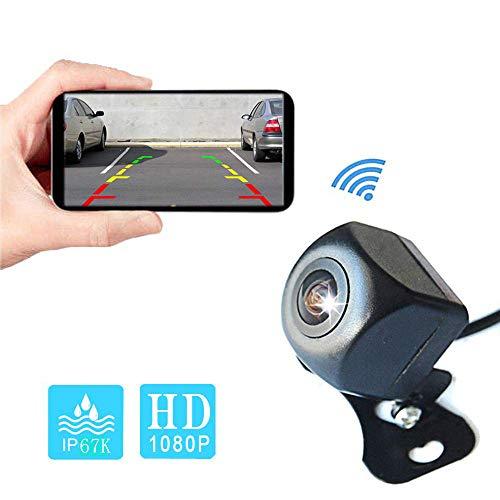 CAMECHO WiFi Auto Rückfahrkamera 1080P Full HD Wireless Auto Backup System mit nachtsicht Mini wasserdichter Ansicht Rückfahrkamera für iPhone/Android Telefon/Tablet nimmt auf