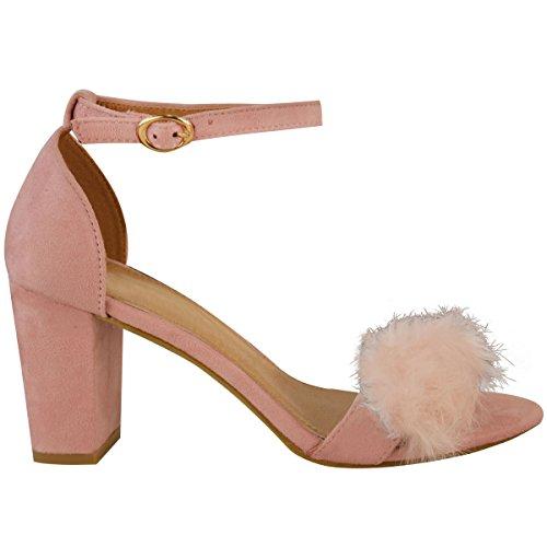 Damen Riemen-Sandaletten mit Kunstfell-Besatz - mittelhoher Absatz Pastellrosa Veloursleder-Imitat