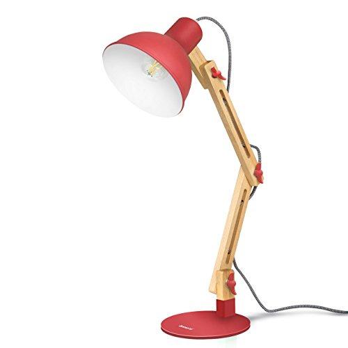 Tomons LED Leselampe im klassichen Holz-Design, Retro Schreibtischlampe Kinder LED, Tischleuchte Verstellbare, Verstellbarem Arm - Rot