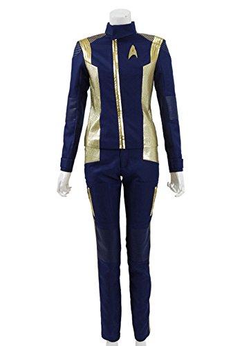 Damen Blau Gold Anzüge Shirt Hose Halloween Cosplay Kostüme (XXL, Blau) (Trek Damen Kostüm Star)