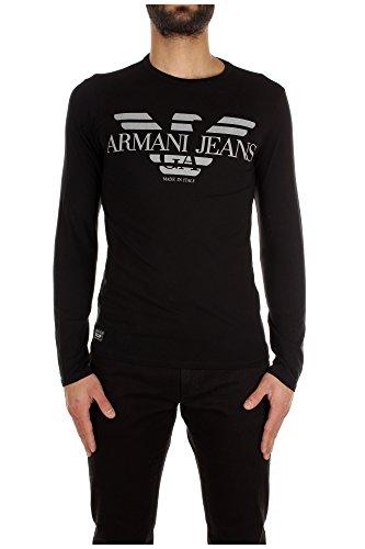 Maglia Armani Jeans Uomo Cotone Nero e Grigio B6H45NM12 Nero 2XL Slim