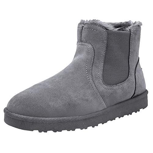 Mymyguoe Hombres Botas de Nieve Zapatos Invierno Calientes Botas Cortas cálidas del Tobillo Plano Retro sólido Flat Ankle Boots Calza los Zapatos Redondos del Dedo del pie Casual Zapatos
