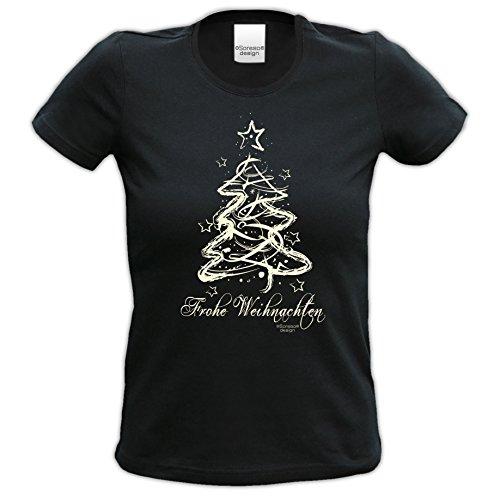Weihnachts-Geschenke-Girlie-Fun-Tshirt für Damen mit Urkunde Motiv: Weihnachten Farbe: schwarz Schwarz