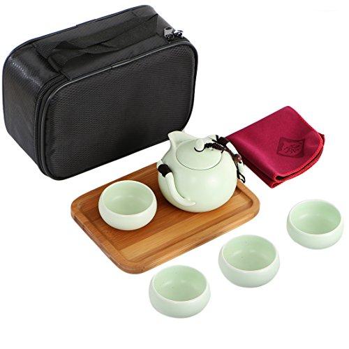 kilofly Japanisches/Chinesisches tragbar Tee-Set-Teekanne Tassen Holz Tablett Reisetasche, porzellan, grün, 200 ml -