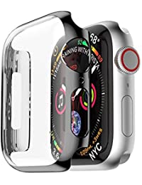 Wokee TPU Hülle Gummi Haut HD Ultra Dünne Weiche Silikon Schutzhülle für Apple-Uhr 4 44mm (Transparent)