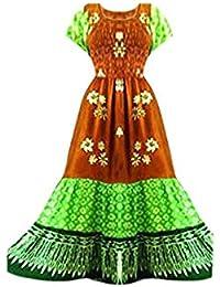 Cool Kaftans SALE New 3 TIER Brown Green Long Dress Batik Gypsy Boho Beach 1 2 14 16 18 20 20 Cool Kaftans