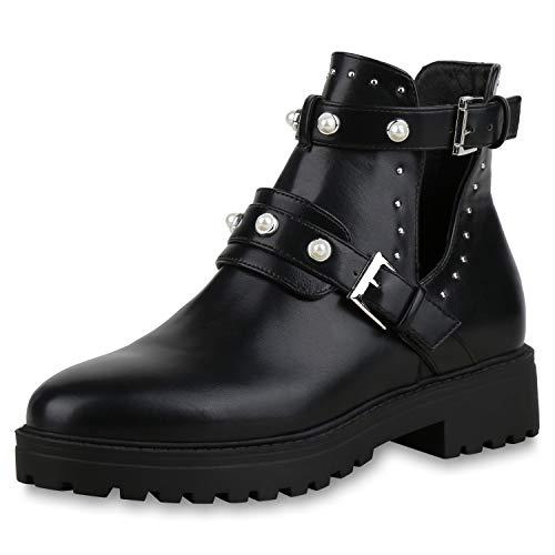 SCARPE VITA Damen Stiefeletten Ankle Boots Zierperlen Plateau Booties Cut Outs 173359 Schwarz 37