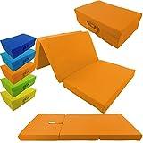 proheim Klappmatratze mit Microfaserbezug zusammenklappbares Gästebett Faltmatratze faltbares Notbett, Farbe:Orange, Größe:120 x 60 x 6 cm