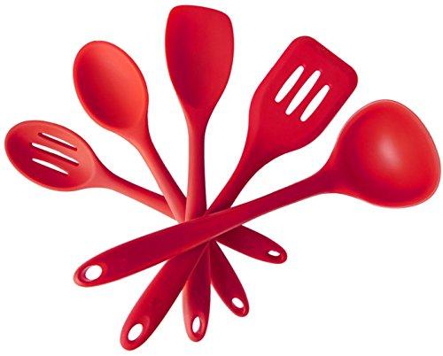 Naisidier 5er Set Silikon Küchenhelfer Kochgeschirr Kochlöffel Kuchen Backen Zubehör Suppenkelle Löffel Rot Spoonula Set