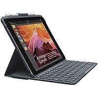 Logitech Slim Folio iPad Tasche (mit Drahtloser Tastatur und Bluetooth, Kompatibel mit iPad 5 und iPad 6 Generation, QWERTZ Deutsches Tastaturlayout) - Schwarz