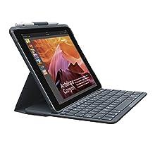 Logitech Slim Folio iPad Case with Wireless Bluetooth Keyboard, iPad 5th & 6th Generation (Models: A1893, A1954, A1822, A1823), iOS Shortcut Keys, 4 Year Battery Life, QWERTY Spanish Layout - Black