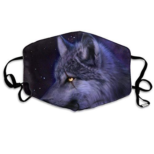Galaxy Wolf Anti-Staub-Ohrschlaufen-Mundmaske, für Frauen und Männer, Anti-Grippe, Keime, Klettern, Halbgesicht, Mund-Maske - verstellbares Band für Gesicht und Nase