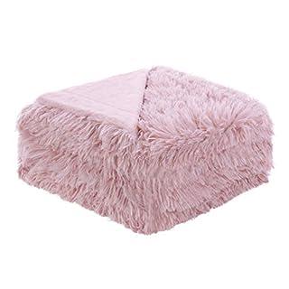 sourcing map Weiches Kunstfell Blanket-Long Shaggy Fleece Faser Bett Decke Home Dekoration, Überwurf/Twin/Full/Queen Size, Dunkelrosa, Volle Größe