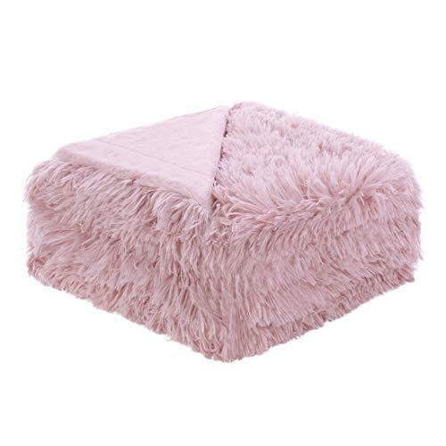 sourcing map Weiches Kunstfell Blanket-Long Shaggy Fleece Faser Bett Decke Home Dekoration, Überwurf/Twin/Full/Queen Size, Dunkelrosa, Volle Größe -