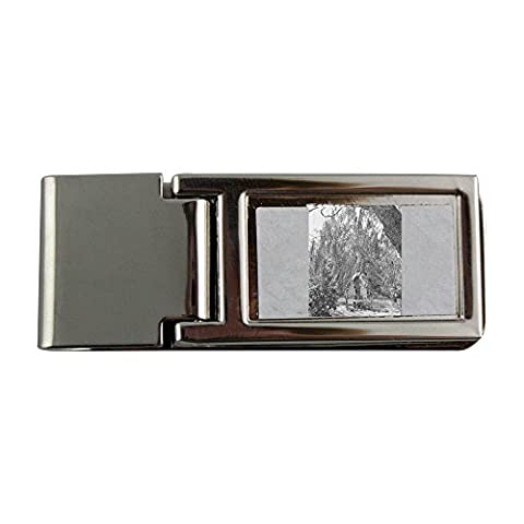 Metal money clip with Man and woman are about to kiss underneath tree. people, man, woman, garden, chairs, standing, kiss, relationship, romance, love, heteroseksual couple, tree,