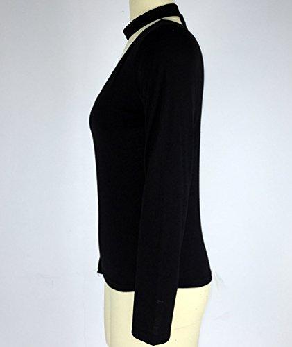 CHENGYANG Donna Choker Collo a V Maglietta a Maniche Lunghe Slim Fit Casual Maglie Blusa Camicetta Nero