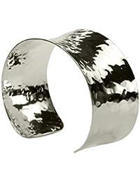 SILBERMOOS Damen Armreif Armspange gehämmert glänzend konkav massiv 925 Sterling Silber