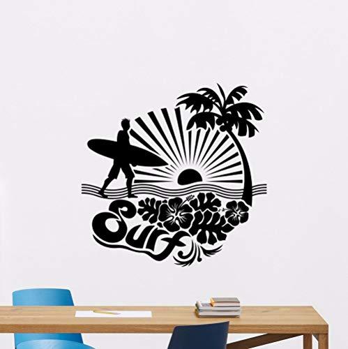 XCSJX Surfen Sport Wandaufkleber Sea Palms Vinyl Wand Poster Sea Palm Tree Wandtattoo Surfer Liebhaber Geschenk Surfbrett Wandmalereien 80x80 cm