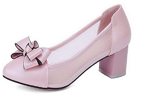 VogueZone009 Damen Mittler Absatz Rund Zehe Blend-Materialien Rein Ziehen Auf Pumps Schuhe Lightpink