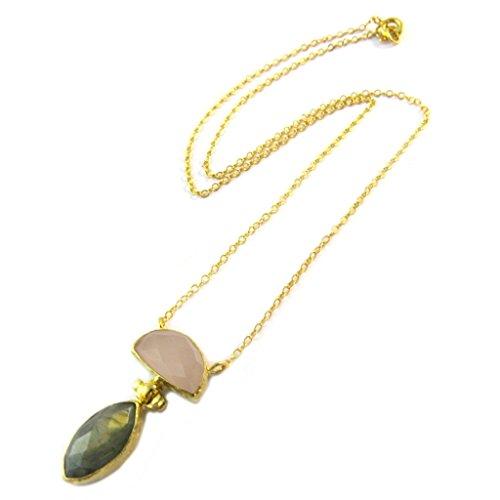 Les Trésors De Lily [P2293] - Vergoldet handgemachte halskette 'Princesse Ottomane' golden grau pink.