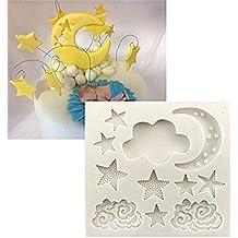 Milopon Molde de Silicona Nube Luna Estrella para Repostería Gallete Bizcocho Chocolate Fondant Decoración de Pastel