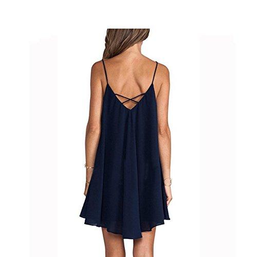 IHRKleid Femme Robe Licol Croix sangle robe irrégulière Bleu foncé