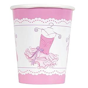 Unique Party- Vasos de Papel Fiesta de Bailarina, 8 Unidades, Color rosa (49486)