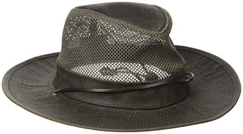 Henschel Distressed Aussie Mesh Breezer Hat mit Camo unter Krempe, Damen Herren, Brown Distress, M (Aussie-hut)