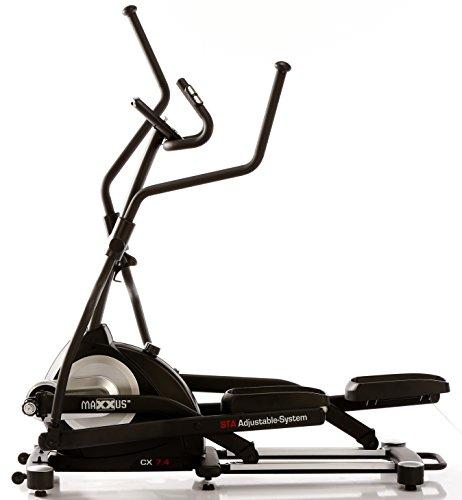 MAXXUS® CROSSTRAINER CX 7.4, Ellipsentrainer mit 5-fach Schrittlängenverstellung! Flache, elliptische Bewegung wie beim Laufen. Elektr. gesteuertes Magnetbremssystem, Trainingsprogramme, HRC-Programm, Schienensystem für sanften Lauf. Auf unterschiedliche Körpergrößen einstellbare Schrittlänge. - 8