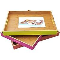 2er-Set Edelstahl Tablett 35cm Serviertablett Frühstückstablett Kerzentablett
