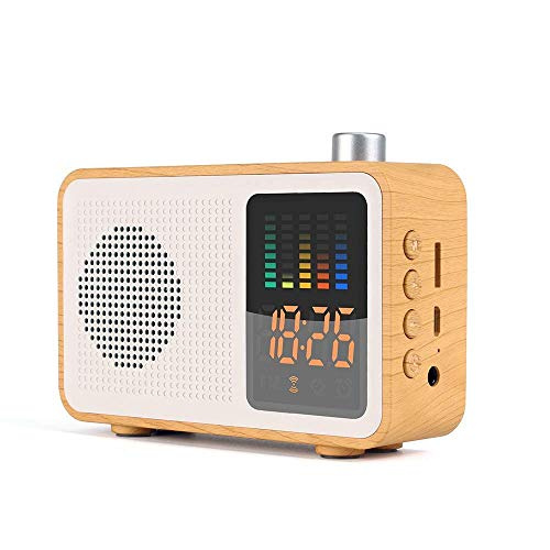 LIUJIE Retro Bluetooth Wireless Lautsprecher, DAB/DAB + Digital FM tragbares Radio/LED-Anzeige Wecker/Echtholz-Effekt-Finish/Akku/Premium-Stereo-Sound,Beige