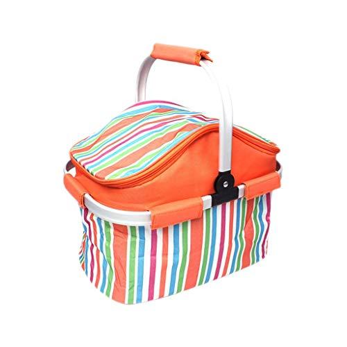 Fourre-tout pliable isolé de sac de panier de pique-nique pour les fêtes extérieures de vacances de BBQ de BBQ, poignée en aluminium de panier à provisions de stockage
