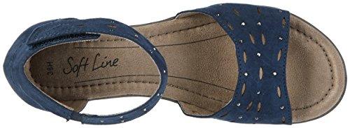 Softline 28162, Sandales Bout Ouvert Femme Bleu (Navy 805)