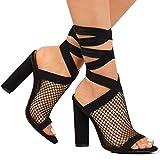 Damen High Heels Sandaletten Sommer Sandalen Absatzschuhe Sexy Mesh Blockabsatz Riemchen Sandalen 10cm Peep Toe Schuhe Partyschuhe Offene Sommerschuhe Y Schwarz 38 EU