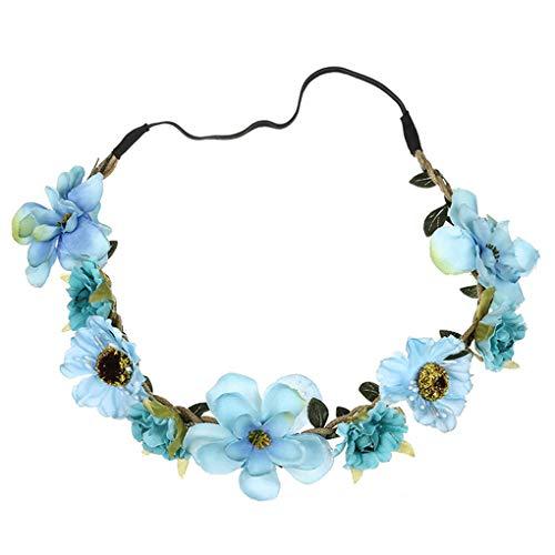 Dorical Stirnband Blumen, 1 Stück Stirnbänder Krone Haarband Kopfband Blume Haarbänder mit Elastischem Band für Hochzeit und Party Haarbänder Band für Frauen Mädchen (One Size, Z06-Blau)