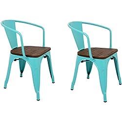 Pack 2 Sillas estilo con respaldo, reposabrazos y asiento acabado en madera. Color Turquesa. Medidas 73x53,5x52