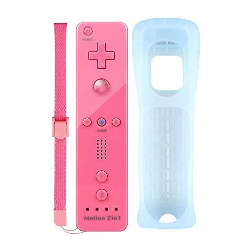 YiYunTE Motion Plus Remote Controller für Nintendo Wii und Wii U, Wirless Controller Motion Plus Fernbedienung für Nintendo Wii und Wii U mit Silikonhülle und Armband (rosa)