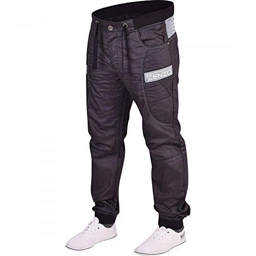 Enzo Herren Jeanshose Schwarz Schwarz Schwarz / Weiß