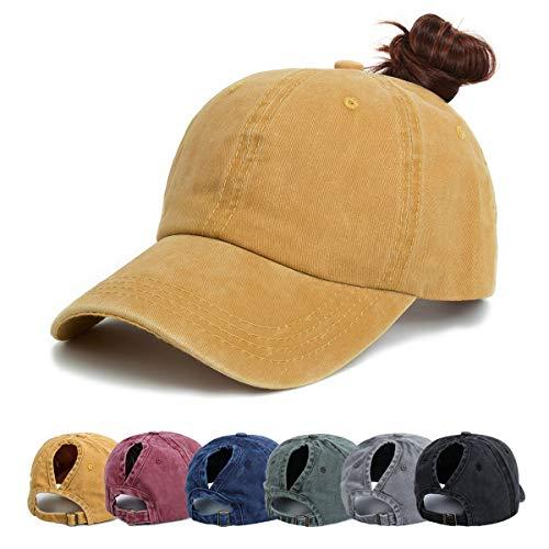Damen Baseball Kappe - Pferdeschwanz Cap Washed Vintage Basecap Sport Mütze Verstellbar Ponytail Baseballmütze Mit Zöpfen Loch Loop Unisex Herren (Gelb)