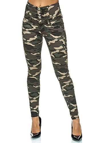 Elara Damen Jeans High Waist Push Up Skinny Fit Chunkyrayan M7209 Camouflage-36