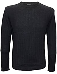 Posh Gear Men's Round Collar Jumper Maglia Alpaca Wool