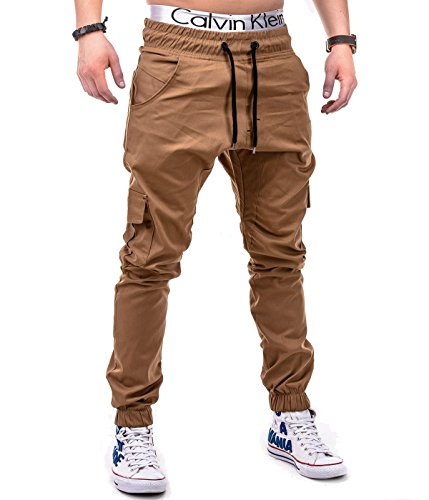 BetterStylz MasonBZ Cargo Chino Jogger Jogginghose Armytaschen Style Trainingshose in div. Farben (S-XXL) (Small, Camel) (Trainingshose Cargo-tasche)