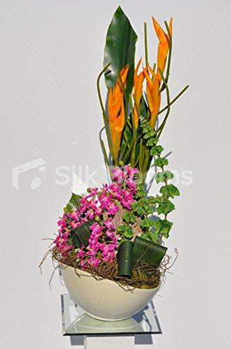 Artistic Artistic Gladioli Naranja y Hojas de orquídea Verde
