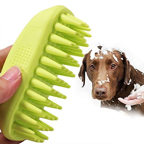 MDN Hunde-Badebürste Haustier-Bade-Werkzeug für Hunde und Katzen - Gummi-Bürste Haustier-Shampoo Bürste - weiche Silikon-Borsten geben dem Haustier sanfte Massage, grün